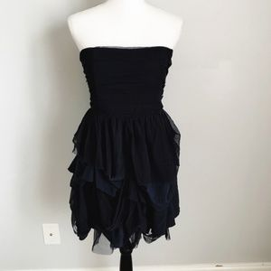 Alice + Olivia Navy Ruffle Strapless Dress